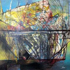 bateau jaune - 81 x 80 cm