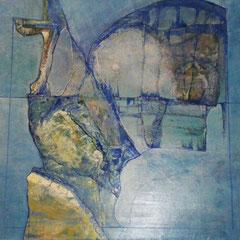 composition bleue - 80 x 80 cm