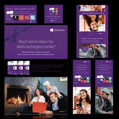 """Weihnachtskampagne Geschenkskarte im Retail """"Microsoft"""" (Inserate, Produktaufkleber, Pop-up-Aufsteller, div. POS-Material)"""