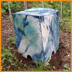 Gartenhocker blau abstrakt, Hocker, Keramik, Beate Seckauer, Neuzeughammer Keramik