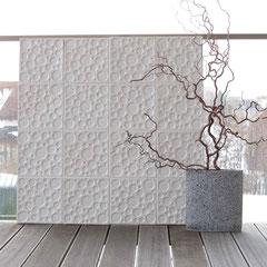 Moonland weiß, Gestaltungselement Terrasse; Beate Seckauer, Neuzeughammer Keramik OG