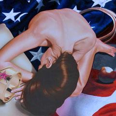 """ Wonder woman"" tecnica mista su tela cm 90 x150 anno 2016"