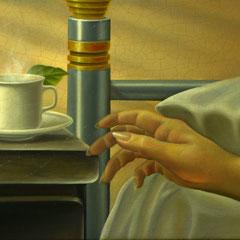 """""""Il risveglio"""" olio su tavola 22 x 56 cm anno 1997"""