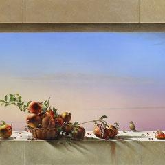 """""""Melograni"""" - olio su tela cm 134 x 276 anno 2016"""