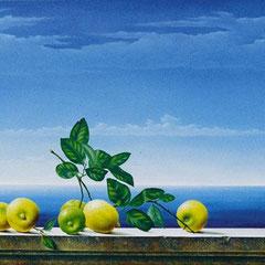 """Mediterraneo"" - olio su tela su tavola cm  68 x 118 anno 2003"