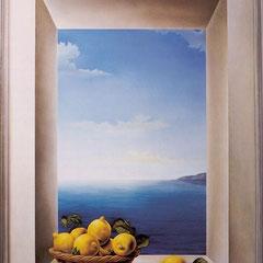 """Mediterraneo""- olio su tavola 90 x 121 cm anno 1997"