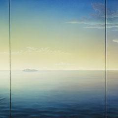"""""""Scilla e Cariddi"""" trittico olio su tela 110 x 50 cm anno 2001"""
