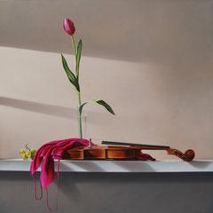 Amore e musica - olio su tela cm 100 x 100 anno 2010