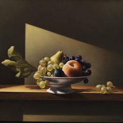 """In bilico"" - olio su tela cm 50 x 52 anno 2008"