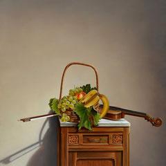"""""""Fra presente e passato""""  olio su tela cm 96 x 86 anno 2000"""