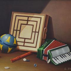 """""""Giochi"""" - olio su tela 40 x 50 cm anno 1990"""