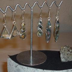 Boucles d'oreilles Nacre Abalone et Pyrite