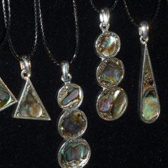 Pendentifs Nacre Abalone et pyrite