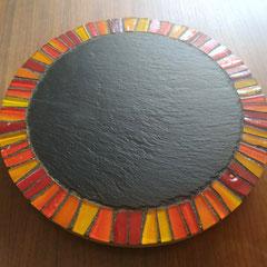 Plateau tournant de présentation Ardoise sur bois, Décor Pâte de verre
