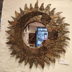 Miroir Mosaïque Soleil de Lauze, pyrite et Chalcopyrite