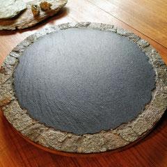 Plateau tournant de présentation Ardoise sur bois, Décor Lauze et Pyrite