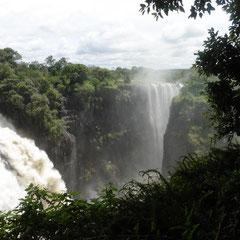 Victoria Falls - das Wasser stürzt mehr als 100 m in die Tiefe