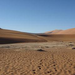 Wir wandern im im tiefen Sand im Sosusvlei