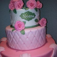 pastel rosa y verde xv años