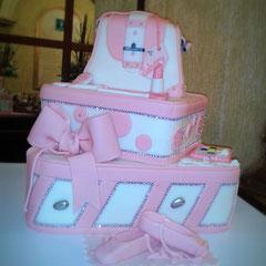 pastel fndant zapatillas de ballet, bolsa color rosa