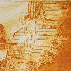 Am Mekong I, 2017, Tetra-Pak-Radierung, 8,8 x 21,5 cm, 10 Auflagen