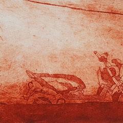 Am Mekong III, 2017, Tetra-Pak-Radierung, 8,8 x 21,5 cm, 10 Auflagen