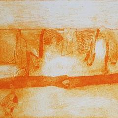 Am Mekong VI, 2017, Tetra-Pak-Radierung, 8,8 x 21,5 cm, 10 Auflagen