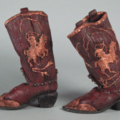 Cowboy & Indian Boots, casti iron, copper leaf metal dye and wax; ladies 6