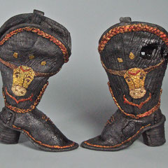 Longhorn Boots, cast iron, gold leaf, metal dye; ladies size 8