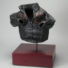 "Horseshoe Shirt, cast iron, copper leaf, metal dye; 12""x14""x13"""
