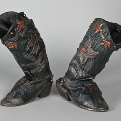 1939 Cowgirl Boots, cast iron, copper leaf; ladies size 6