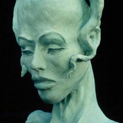 """moderner Archetyp """"Delphinea"""", Ölmalerei auf Tonskulptur"""