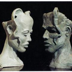 beide Skulpturen im Zusammenspiel