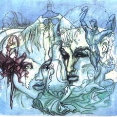 """""""Planet Love"""", mehrschichtige Malerei in Öl auf Aquarell"""