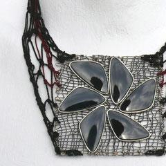 Halsschmuck - 935 Silber, Seide und Onyx - 1988