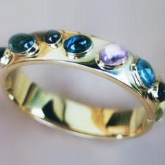 Armreif - 585 Gold, verschiedene Turmaline