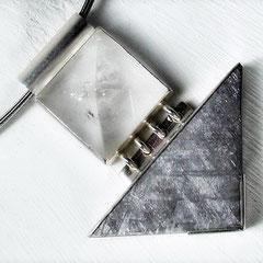 Halsschmuck - Halsreif Stahl, Anhänger 935 Silber, Bergkristall und Granit - 2006