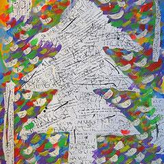 """""""l'albero delle Parole ritrovato"""" acrilico e collage di carta su masonite cm60x80"""