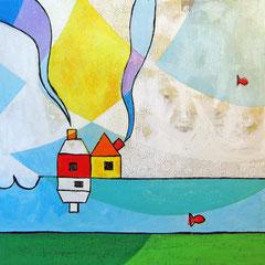 """""""La Casa sul Lago""""  colori acrilici ed inserti di giornale su tela cm50x50 (3)"""