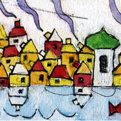 """""""il Villaggio di Barbara"""" acrilici e segni a matita su cartoncino (segnalibro) cm 19,5x6"""
