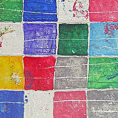 """""""colori a scacchi orizzontale"""" esercizio con stucco e acrilici su assi di legno cm130x50"""