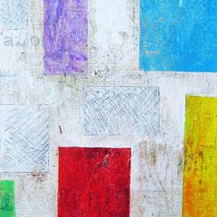 """""""pezzi di colori""""acrilici e segni di matita su cartone telato ricoperto di carta giornale con rifinitura vernice all'acquacm25x40"""