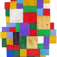 """""""hans60"""" acrililci e foglia oro su pezzi di legno graffiati cm48x72"""
