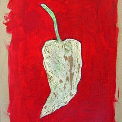 """""""il peperoncino piccante verde"""" acrilici su cartone d'imballo rifinito con vernice all'acqua cm33x48"""