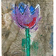 """""""fiori per libreria"""" acrilico su tavole di legno (tre tele cm17x23)"""