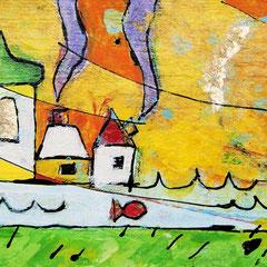 """la Casa di Mara"""" acrilici e matite colorate su pezzo di legno cm21,5x11"""
