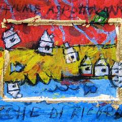"""""""case in tre momenti"""" acrilico, carboncino e foglia oro su cartone cm56x18"""