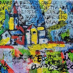 """""""chiesetta di Garniga """" acrilico su tela e carta cm15x20"""
