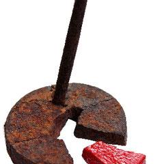 """""""l'escluso""""  cm9,5x14 (materiale ferroso su base lignea cm15x15)"""