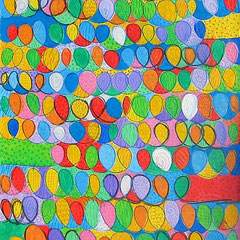 """""""trama colori"""" acrilico e colori a matita sucart su tela (esercizio) cm40x50"""